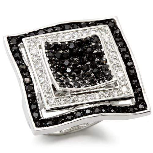 Ring 5 0W058 Rhodium + Ruthenium Brass Ring with AAA Grade CZ in Jet angelucci-jewelry