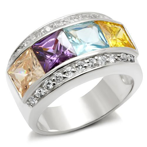 Ring 5 6X116 Rhodium Brass Ring with AAA Grade CZ in Multi Color angelucci-jewelry