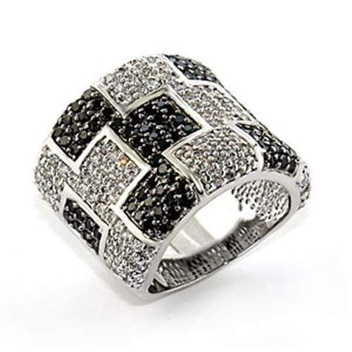 Ring 5 80503 Rhodium + Ruthenium Brass Ring with AAA Grade CZ in Jet angelucci-jewelry