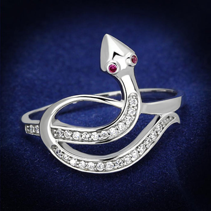 Ring 5 TS123 Rhodium 925 Sterling Silver Ring with AAA Grade CZ in Ruby angelucci-jewelry