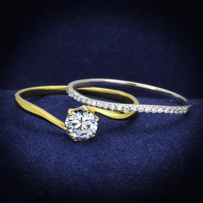 Ring 5 TS209 Gold+Rhodium 925 Sterling Silver Ring with AAA Grade CZ in Clear angelucci-jewelry