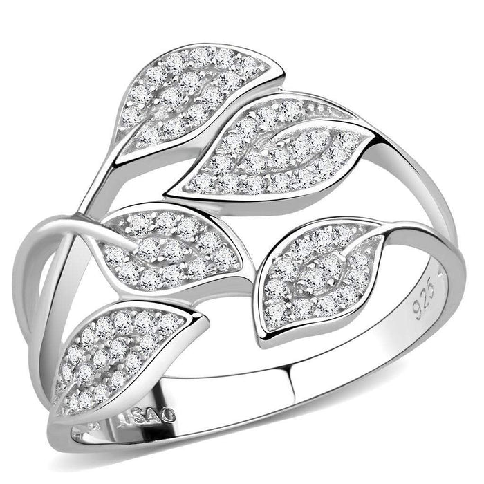 Ring 5 TS618 Rhodium 925 Sterling Silver Ring with AAA Grade CZ in Clear angelucci-jewelry