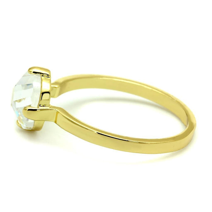 Ring 6 LO4078 Flash Gold Brass Ring with AAA Grade CZ in K2 angelucci-jewelry