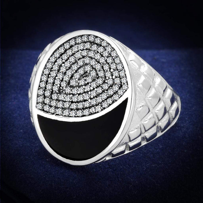 Ring 8 TS216 Rhodium 925 Sterling Silver Ring with AAA Grade CZ in Clear angelucci-jewelry