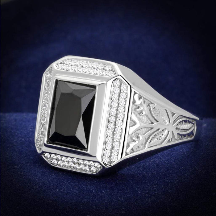 Ring 8 TS224 Rhodium 925 Sterling Silver Ring with AAA Grade CZ in Black Diamond angelucci-jewelry