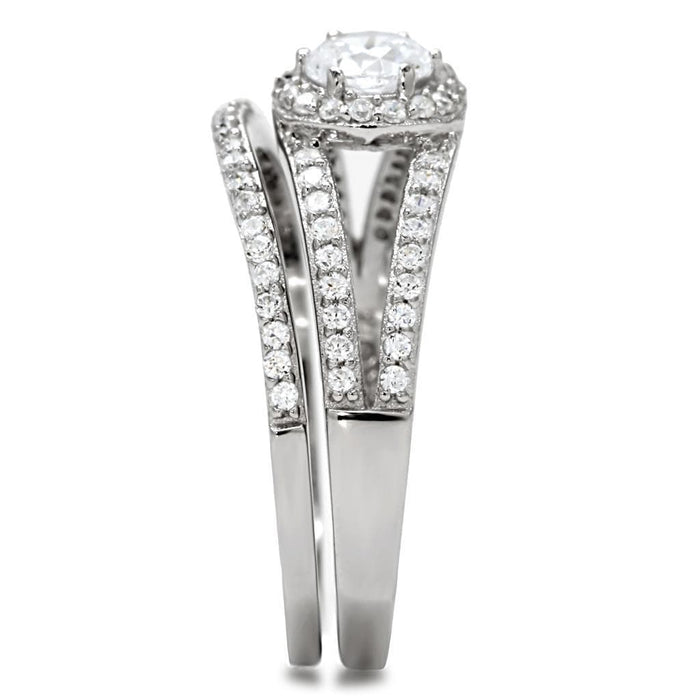 Ring TS004 Rhodium 925 Sterling Silver Ring with AAA Grade CZ in Clear angelucci-jewelry