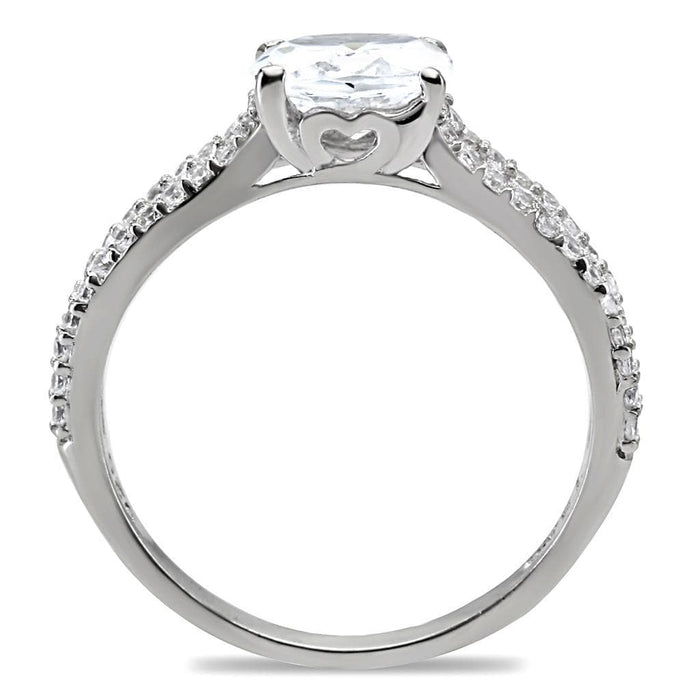 Ring TS029 Rhodium 925 Sterling Silver Ring with AAA Grade CZ in Clear angelucci-jewelry