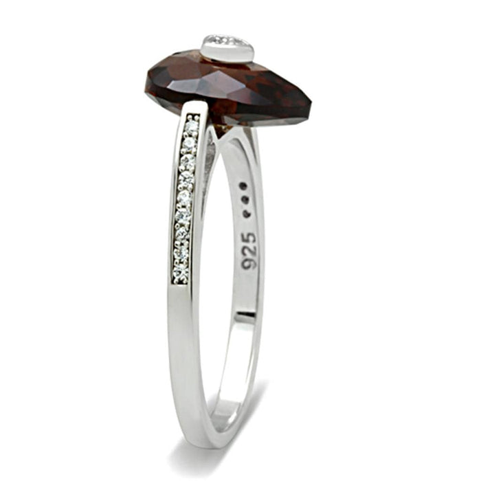 Ring TS051 Rhodium 925 Sterling Silver Ring with AAA Grade CZ in Brown angelucci-jewelry
