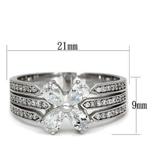 Ring TS092 Rhodium 925 Sterling Silver Ring with AAA Grade CZ in Clear angelucci-jewelry