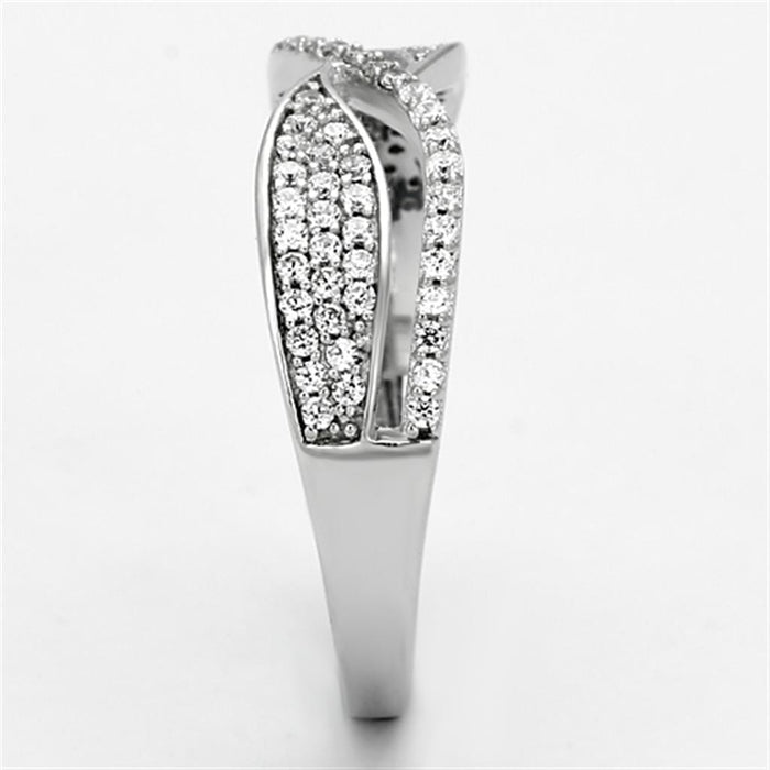 Ring TS108 Rhodium 925 Sterling Silver Ring with AAA Grade CZ in Clear angelucci-jewelry
