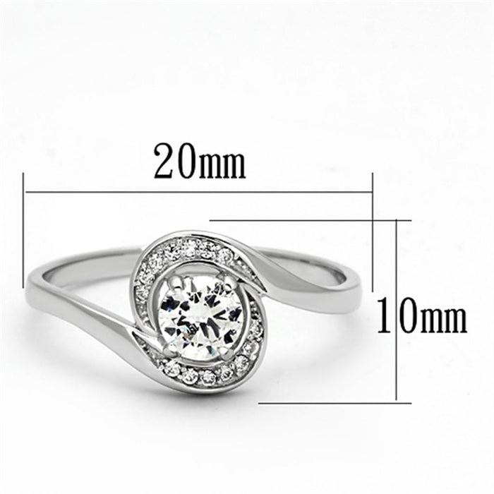 Ring TS116 Rhodium 925 Sterling Silver Ring with AAA Grade CZ in Clear angelucci-jewelry