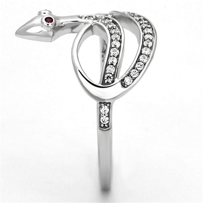 Ring TS123 Rhodium 925 Sterling Silver Ring with AAA Grade CZ in Ruby angelucci-jewelry