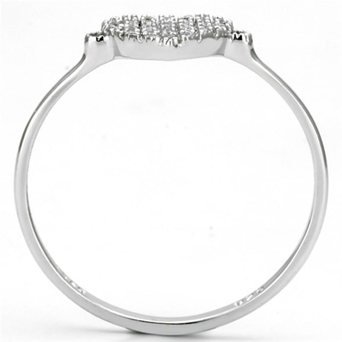 Ring TS133 Rhodium 925 Sterling Silver Ring with AAA Grade CZ in Clear angelucci-jewelry