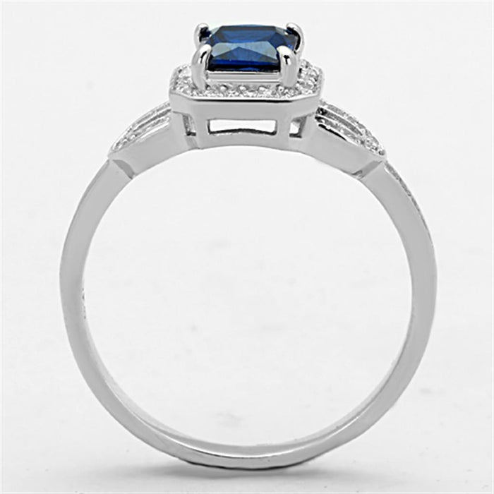 Ring TS138 Rhodium 925 Sterling Silver Ring with Synthetic in London Blue angelucci-jewelry