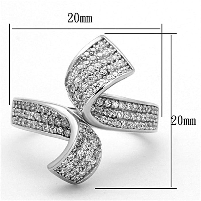 Ring TS150 Rhodium 925 Sterling Silver Ring with AAA Grade CZ in Clear angelucci-jewelry