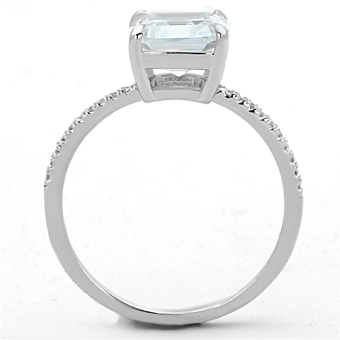 Ring TS155 Rhodium 925 Sterling Silver Ring with Cubic in Clear angelucci-jewelry