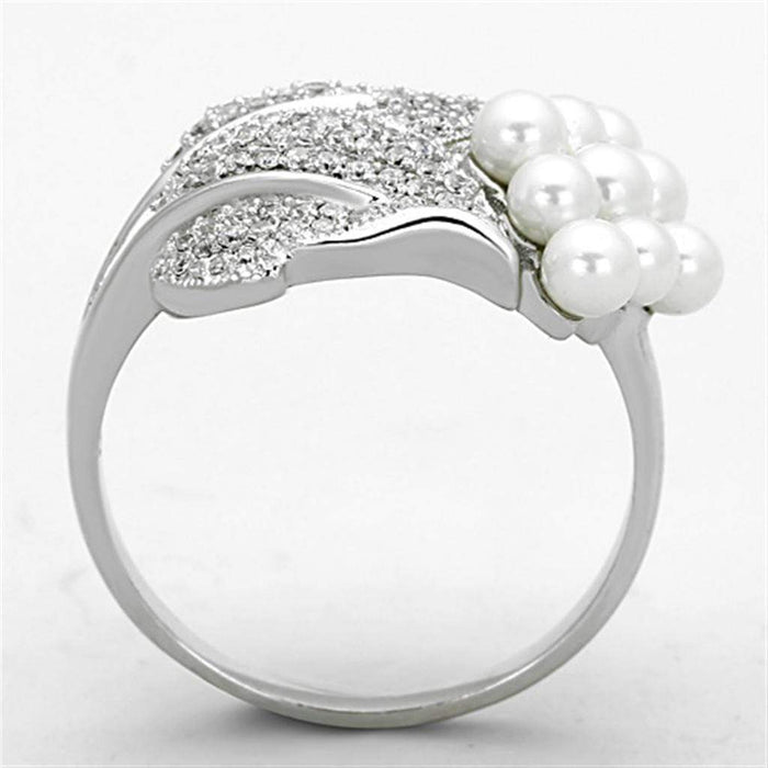 Ring TS167 Rhodium 925 Sterling Silver Ring with Synthetic in White angelucci-jewelry