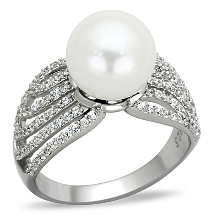 Ring TS169 Rhodium 925 Sterling Silver Ring with Synthetic in White angelucci-jewelry