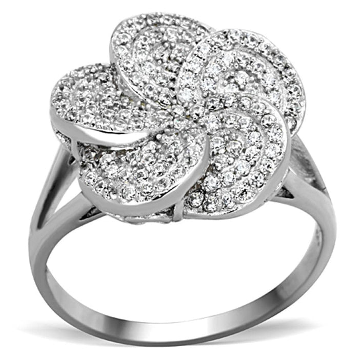Ring TS171 Rhodium 925 Sterling Silver Ring with AAA Grade CZ in Clear angelucci-jewelry