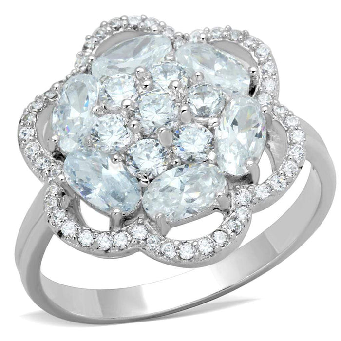 Ring TS180 Rhodium 925 Sterling Silver Ring with AAA Grade CZ in Clear angelucci-jewelry