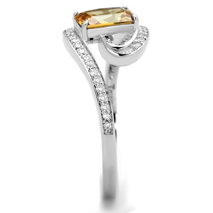 Ring TS183 Rhodium 925 Sterling Silver Ring with AAA Grade CZ in Champagne angelucci-jewelry