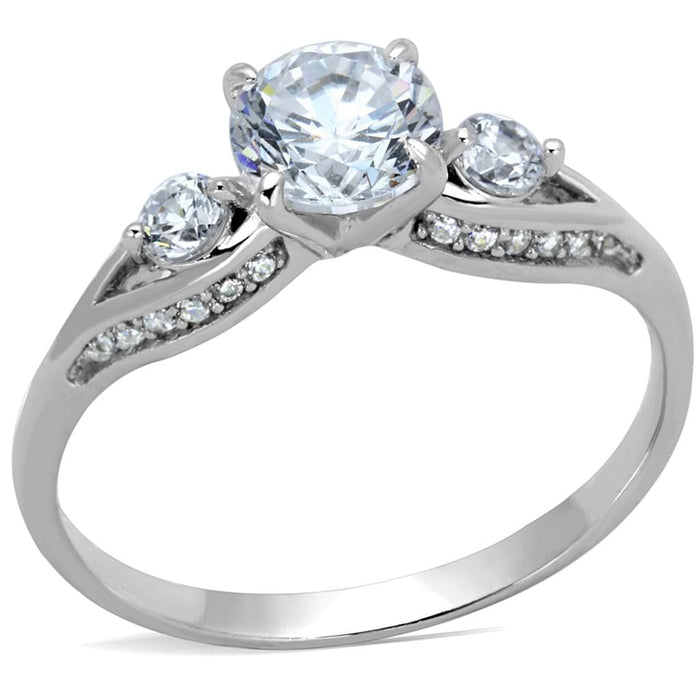 Ring TS189 Rhodium 925 Sterling Silver Ring with AAA Grade CZ in Clear angelucci-jewelry