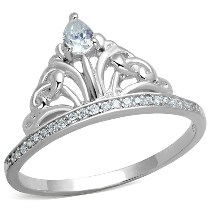 Ring TS191 Rhodium 925 Sterling Silver Ring with AAA Grade CZ in Clear angelucci-jewelry