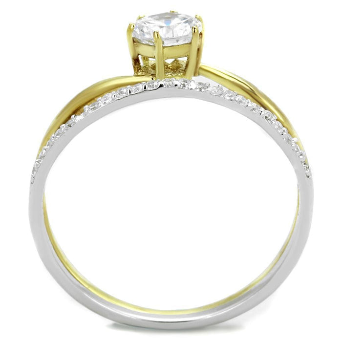 Ring TS209 Gold+Rhodium 925 Sterling Silver Ring with AAA Grade CZ in Clear angelucci-jewelry