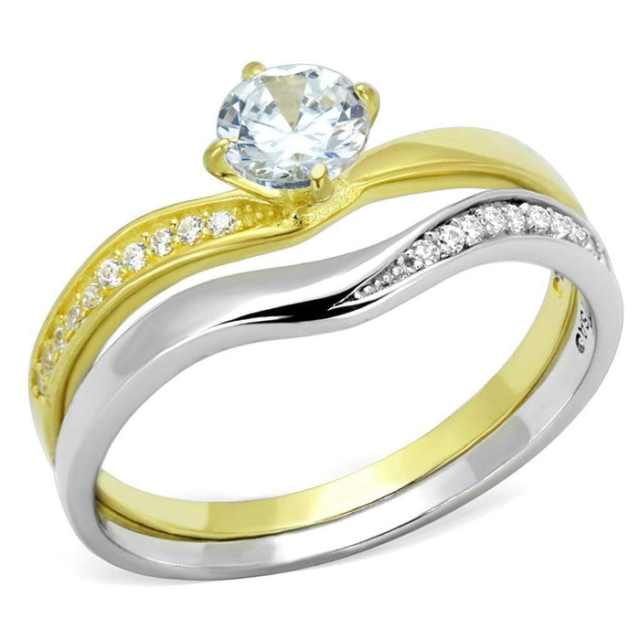 Ring TS210 Gold+Rhodium 925 Sterling Silver Ring with AAA Grade CZ in Clear angelucci-jewelry