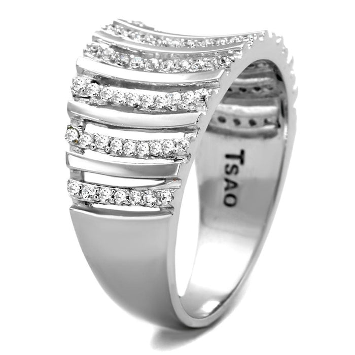 Ring TS211 Rhodium 925 Sterling Silver Ring with AAA Grade CZ in Clear angelucci-jewelry