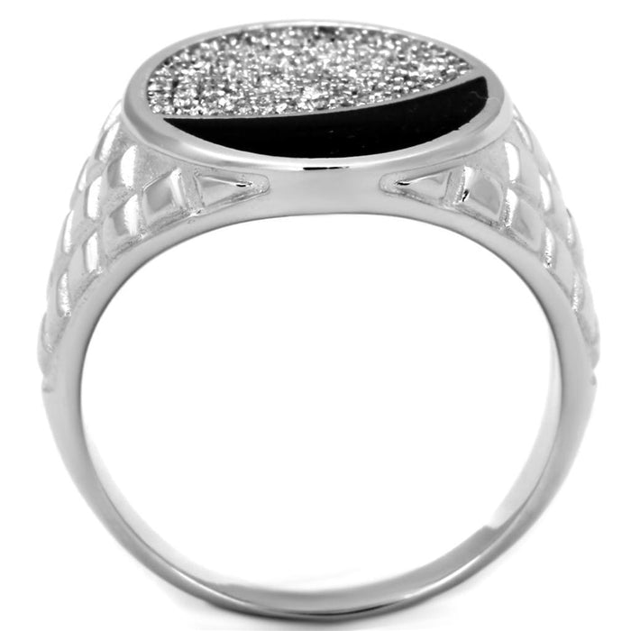 Ring TS216 Rhodium 925 Sterling Silver Ring with AAA Grade CZ in Clear angelucci-jewelry