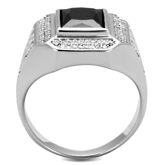 Ring TS224 Rhodium 925 Sterling Silver Ring with AAA Grade CZ in Black Diamond angelucci-jewelry