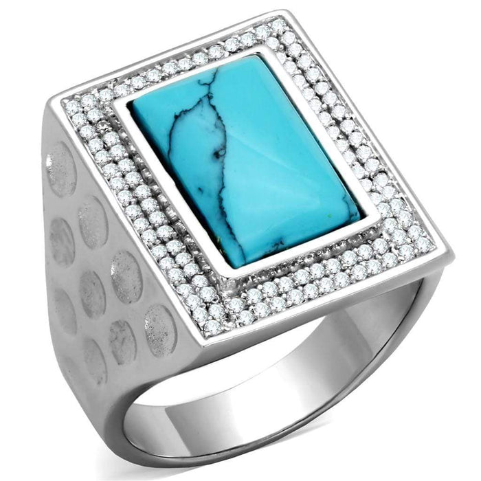 Ring TS228 Rhodium 925 Sterling Silver Ring with Synthetic in Sea Blue angelucci-jewelry