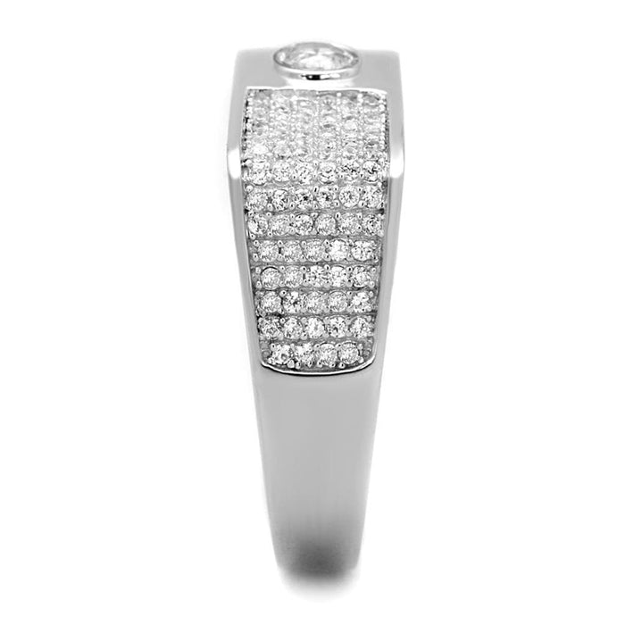 Ring TS239 Rhodium 925 Sterling Silver Ring with AAA Grade CZ in Clear angelucci-jewelry