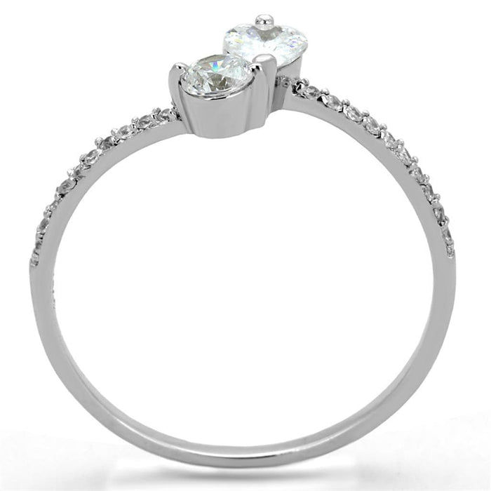 Ring TS258 Rhodium 925 Sterling Silver Ring with AAA Grade CZ in Clear angelucci-jewelry