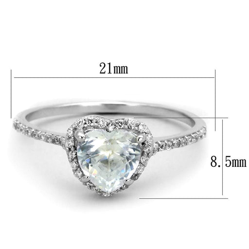 Ring TS270 Rhodium 925 Sterling Silver Ring with AAA Grade CZ in Clear angelucci-jewelry