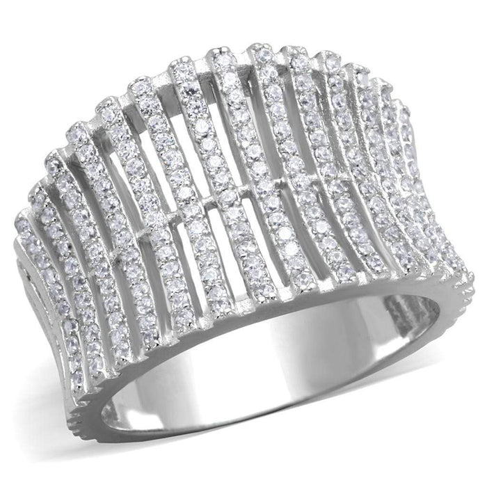 Ring TS302 Rhodium 925 Sterling Silver Ring with AAA Grade CZ in Clear angelucci-jewelry