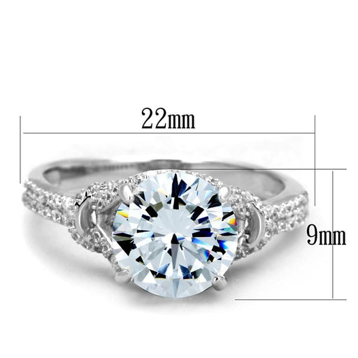 Ring TS304 Rhodium 925 Sterling Silver Ring with AAA Grade CZ in Clear angelucci-jewelry