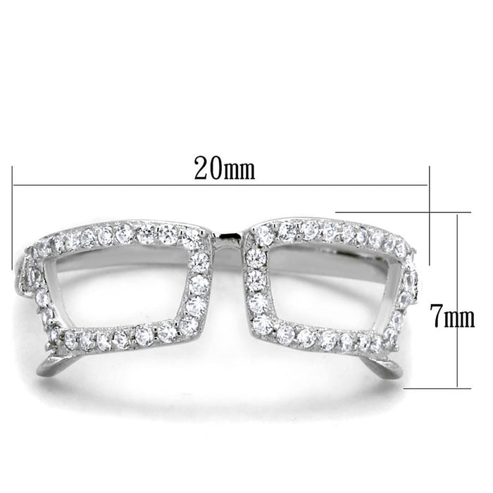 Ring TS306 Rhodium 925 Sterling Silver Ring with AAA Grade CZ in Clear angelucci-jewelry