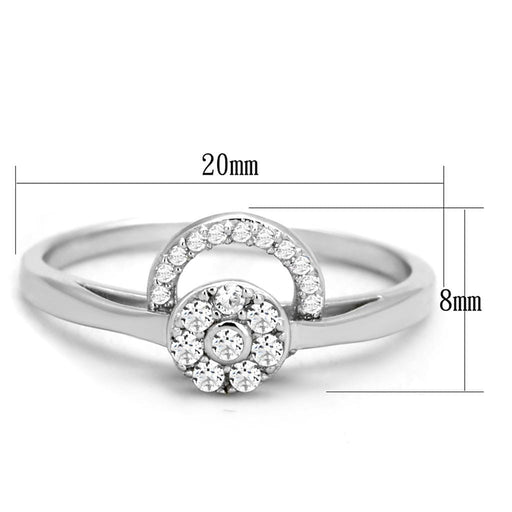 Ring TS310 Rhodium 925 Sterling Silver Ring with AAA Grade CZ in Clear angelucci-jewelry
