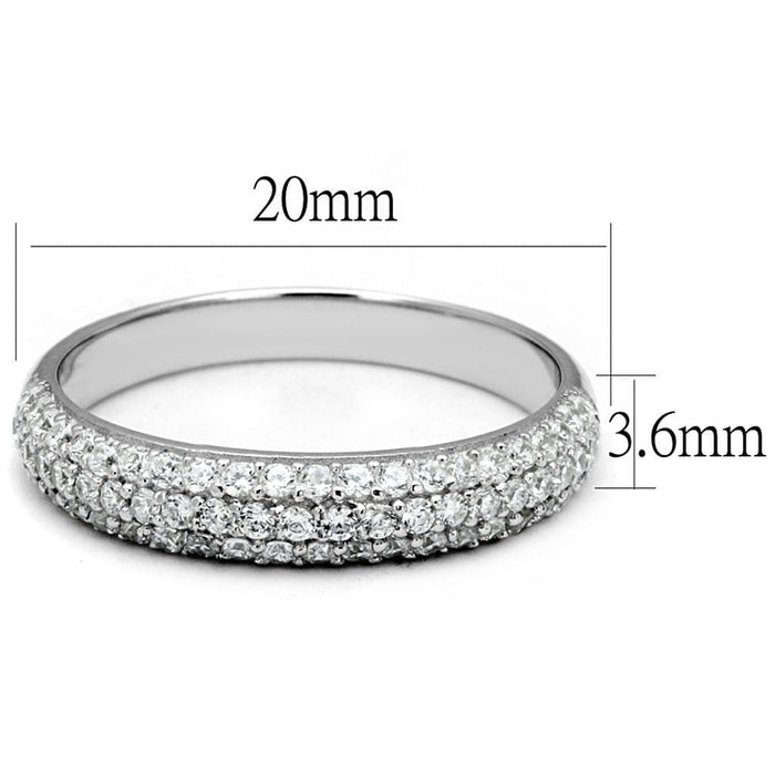Ring TS535 Rhodium 925 Sterling Silver Ring with AAA Grade CZ in Clear angelucci-jewelry