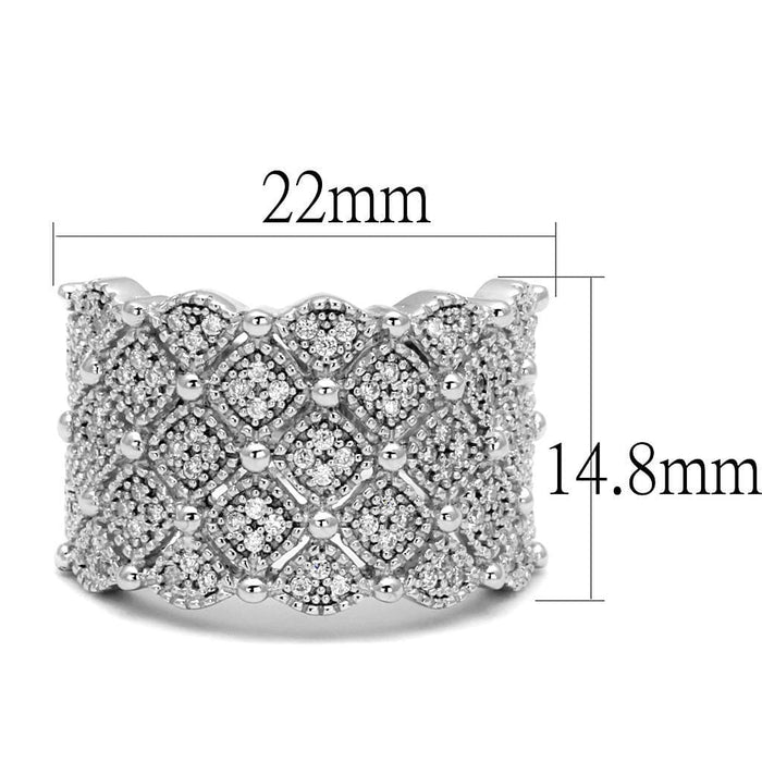 Ring TS546 Rhodium 925 Sterling Silver Ring with AAA Grade CZ in Clear angelucci-jewelry