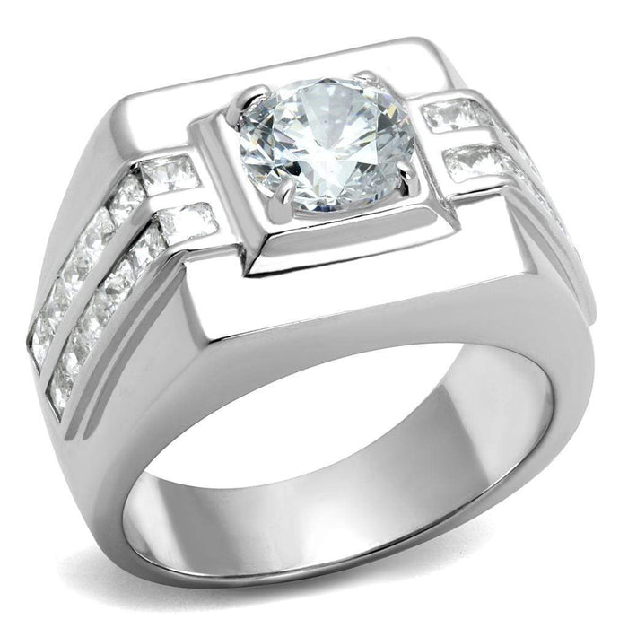 Ring TS553 Rhodium 925 Sterling Silver Ring with AAA Grade CZ in Clear angelucci-jewelry
