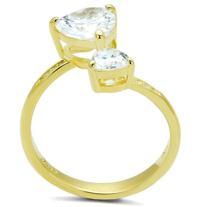 Ring TS555 Gold 925 Sterling Silver Ring with AAA Grade CZ in Clear angelucci-jewelry