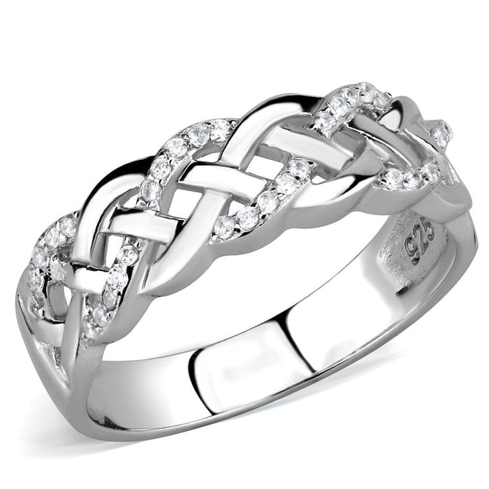 Ring TS566 Rhodium 925 Sterling Silver Ring with AAA Grade CZ in Clear angelucci-jewelry