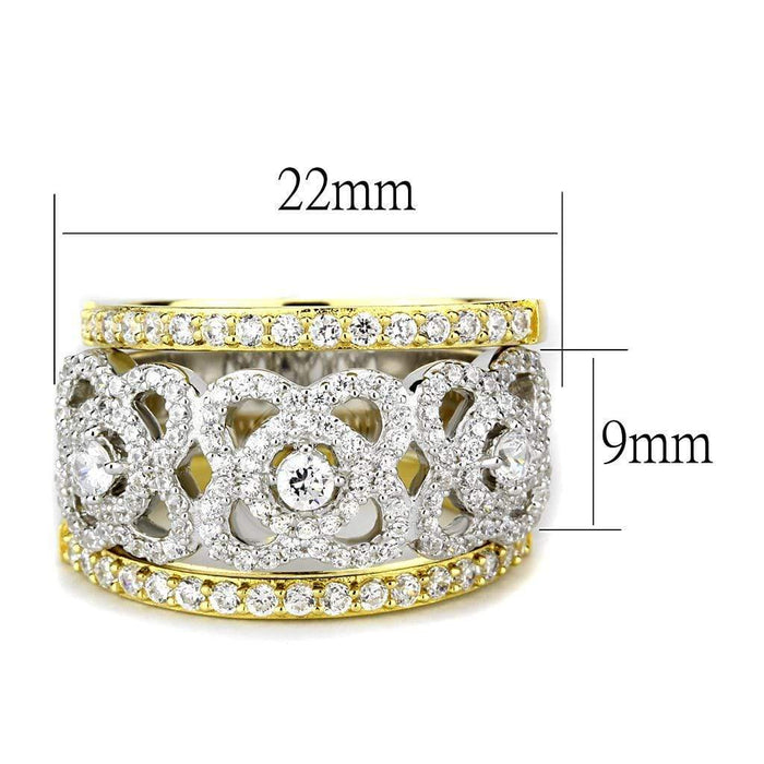 Ring TS569 Gold+Rhodium 925 Sterling Silver Ring with AAA Grade CZ in Clear angelucci-jewelry
