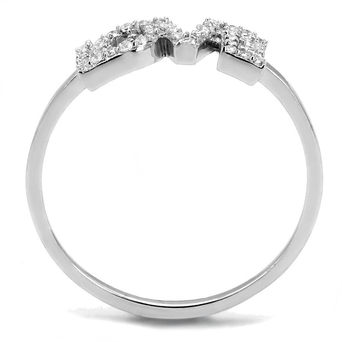 Ring TS580 Rhodium 925 Sterling Silver Ring with AAA Grade CZ in Clear angelucci-jewelry