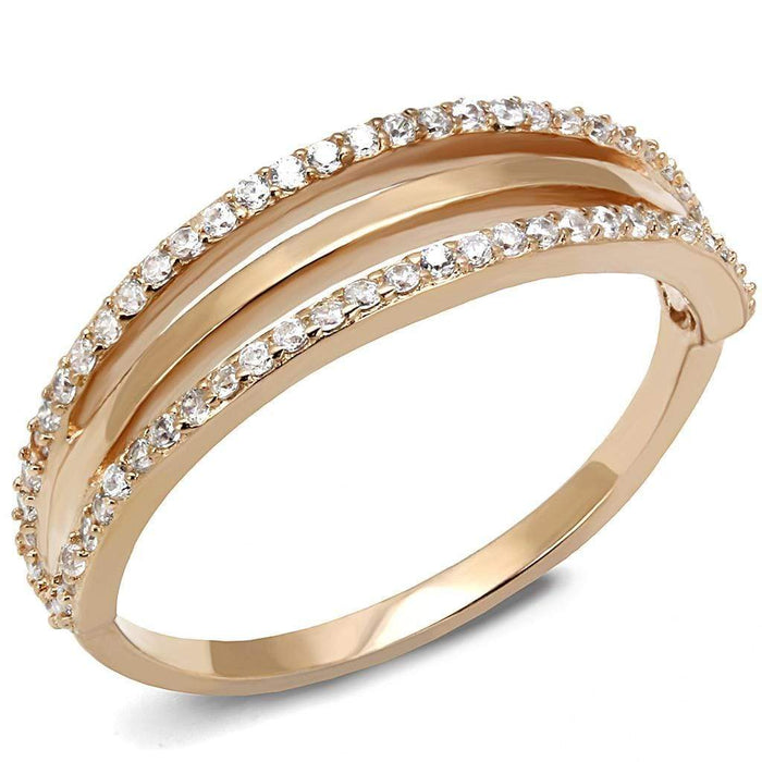 Ring TS587 Rose Gold 925 Sterling Silver Ring with AAA Grade CZ in Clear angelucci-jewelry