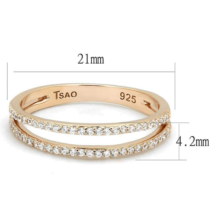 Ring TS588 Rose Gold 925 Sterling Silver Ring with AAA Grade CZ in Clear angelucci-jewelry