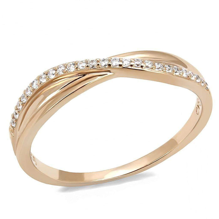 Ring TS591 Rose Gold 925 Sterling Silver Ring with AAA Grade CZ in Clear angelucci-jewelry